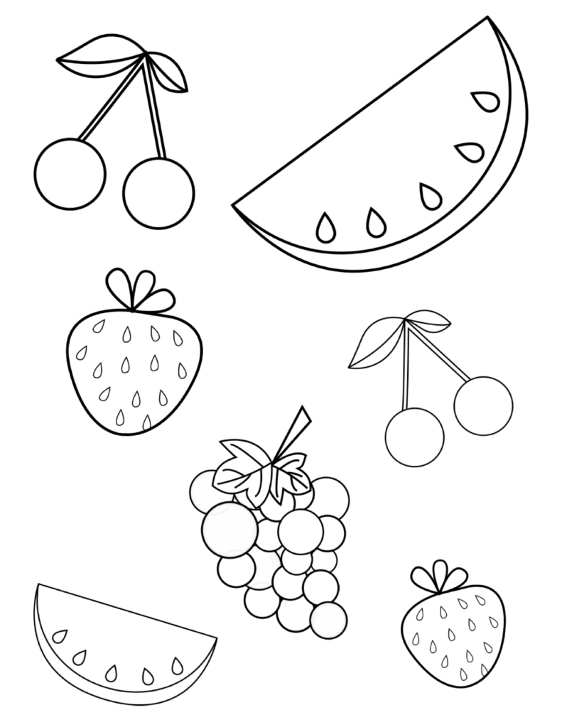 Free Summer Fruits Coloring Page Pdf For Toddlers & Preschoolers - Free Printable Pages For Preschoolers