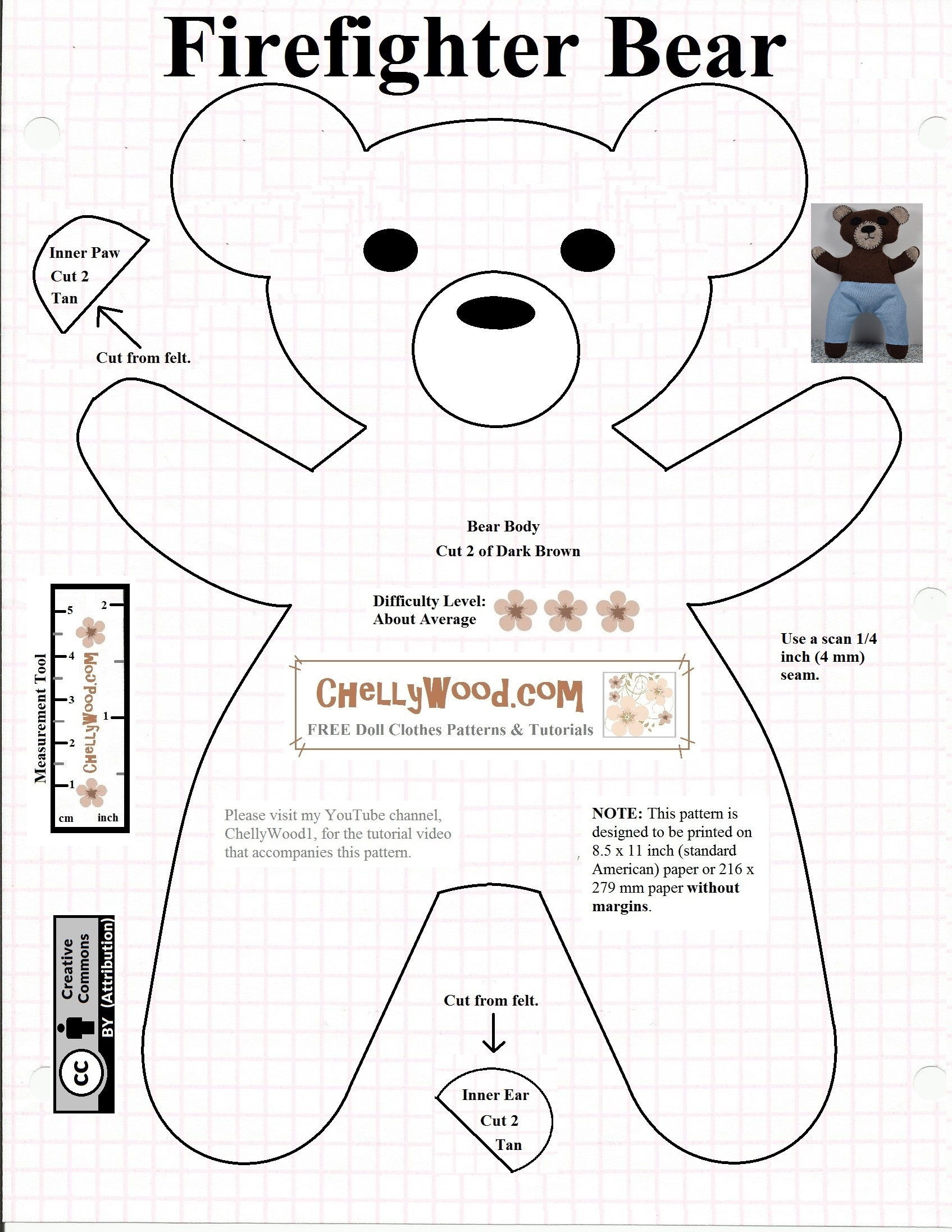Free #teddybear #plush #toy Pattern @ Chellywood – Free - Free Printable Teddy Bear Clothes Patterns
