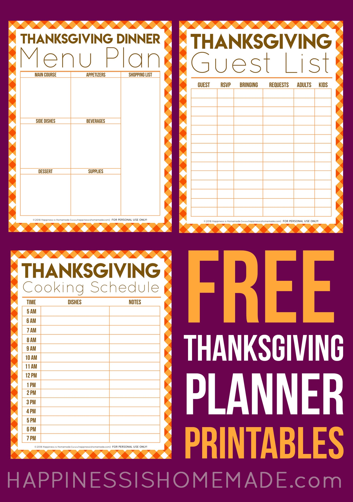 Free Thanksgiving Printables - Menu Planner, Guest List, & More - Free Printable For Thanksgiving