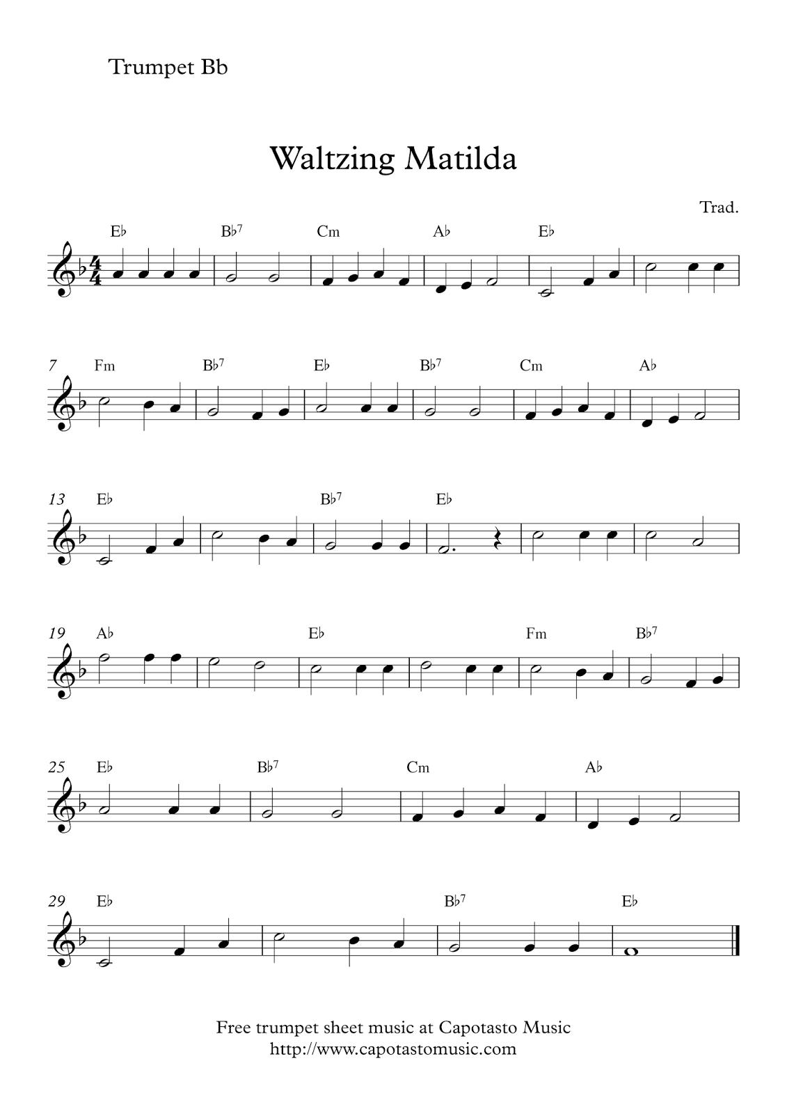 Free Trumpet Sheet Music | Waltzing Matilda - Free Printable Sheet Music For Trumpet