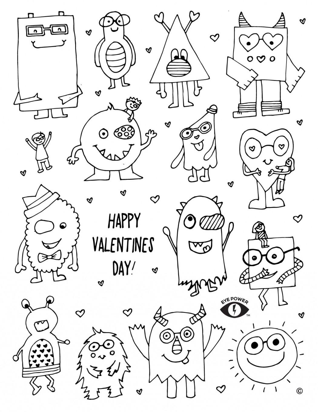 Free Valentines Coloring Page Printable - Eye Power Kids Wear - Free Printable Valentine Coloring Pages