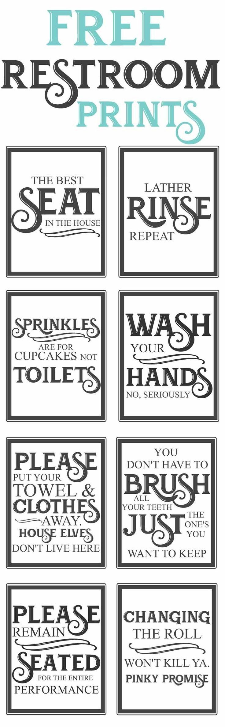 Free Vintage Bathroom Printables | Farmhouse | Vintage Bathrooms - Free Printable Funny Signs
