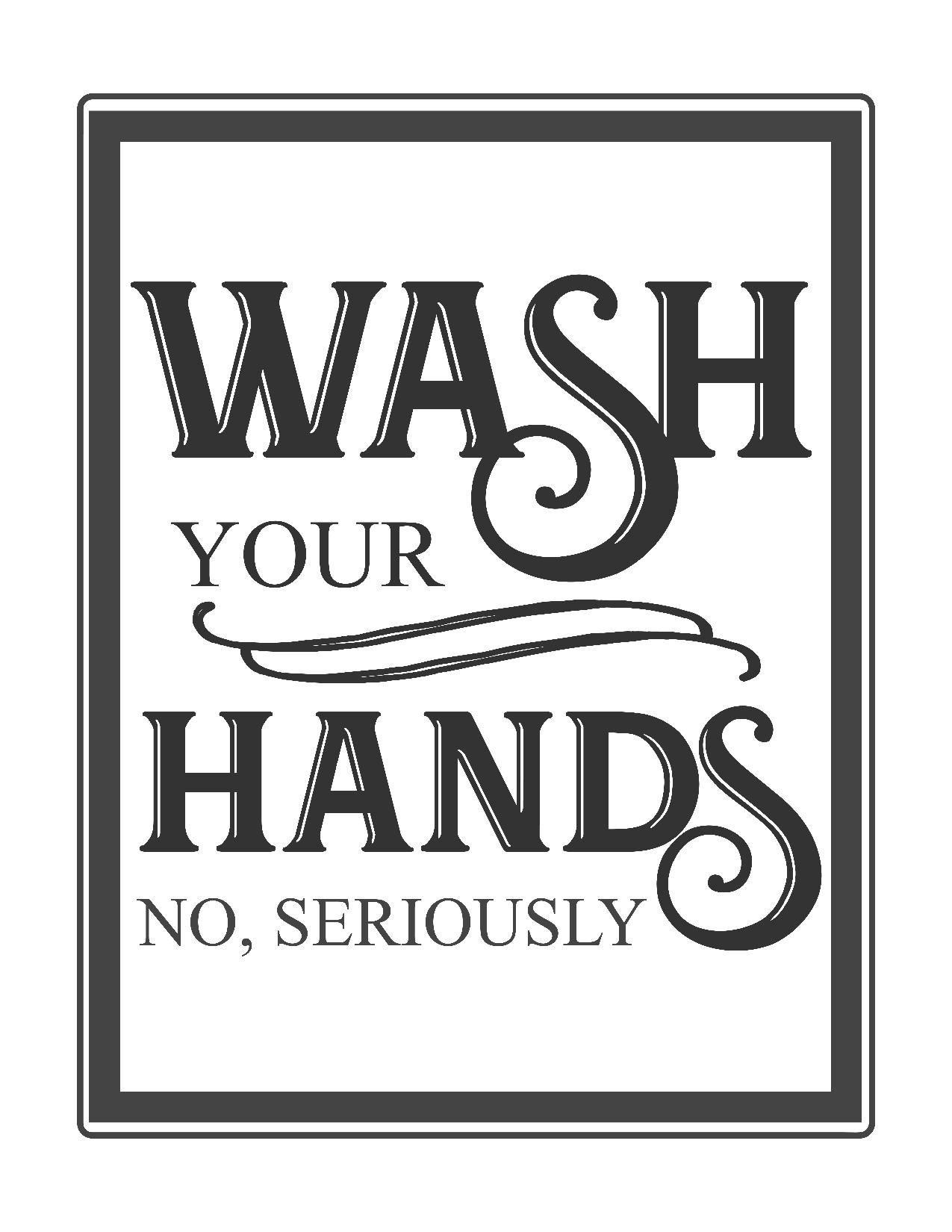 Free Vintage Bathroom Printables   Printables **   Vintage Bathrooms - Free Wash Your Hands Signs Printable