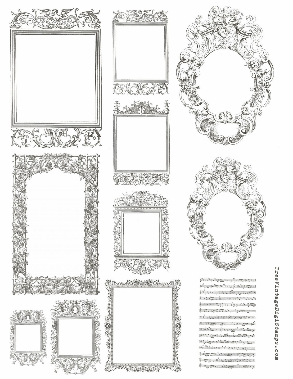 Free Vintage Digital Stamps**: Free Printable - Ornate Frames - Free Printable Photo Frames