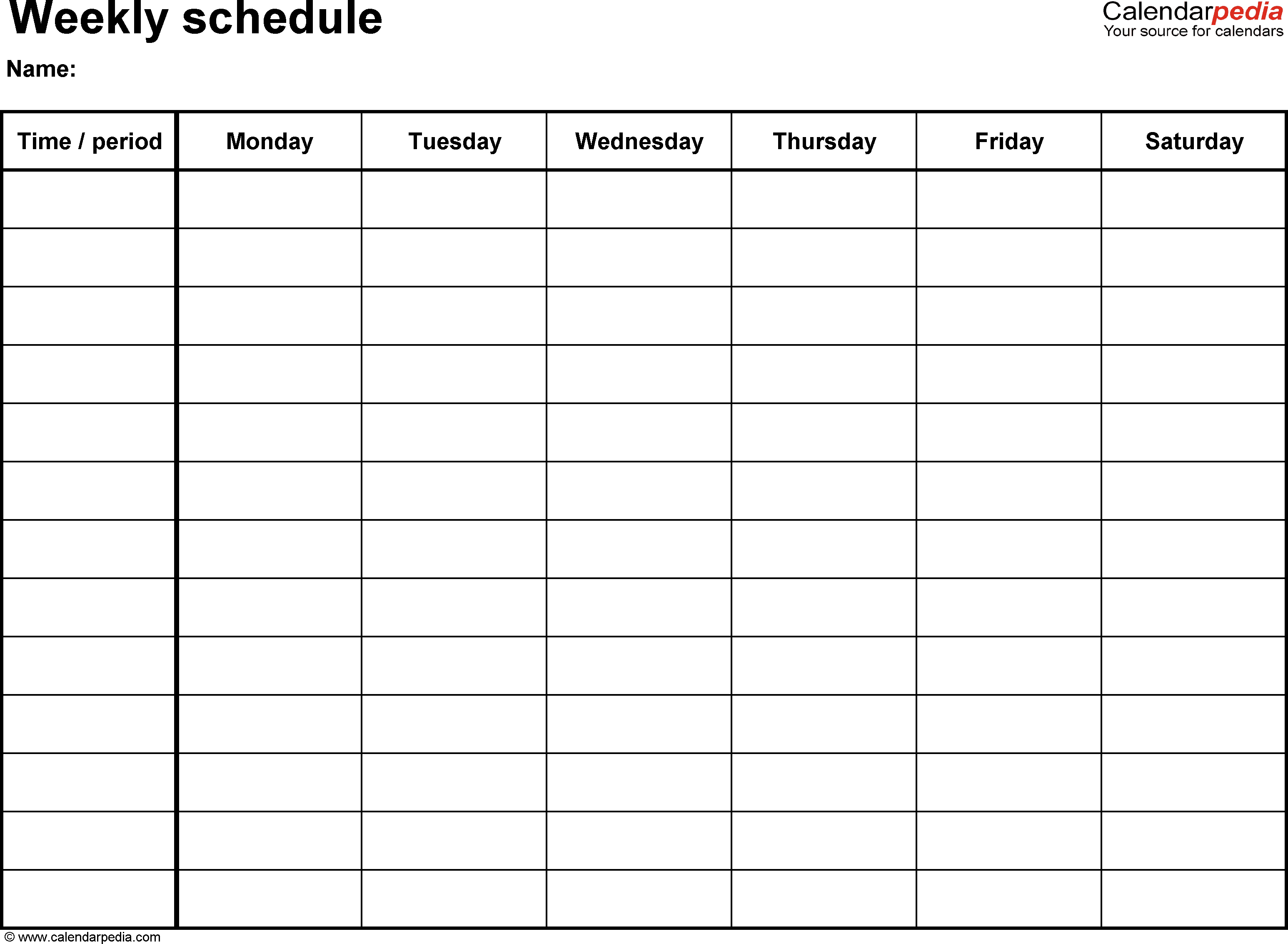 Free Weekly Schedule Templates For Excel - 18 Templates - Free Printable Daily Schedule Chart