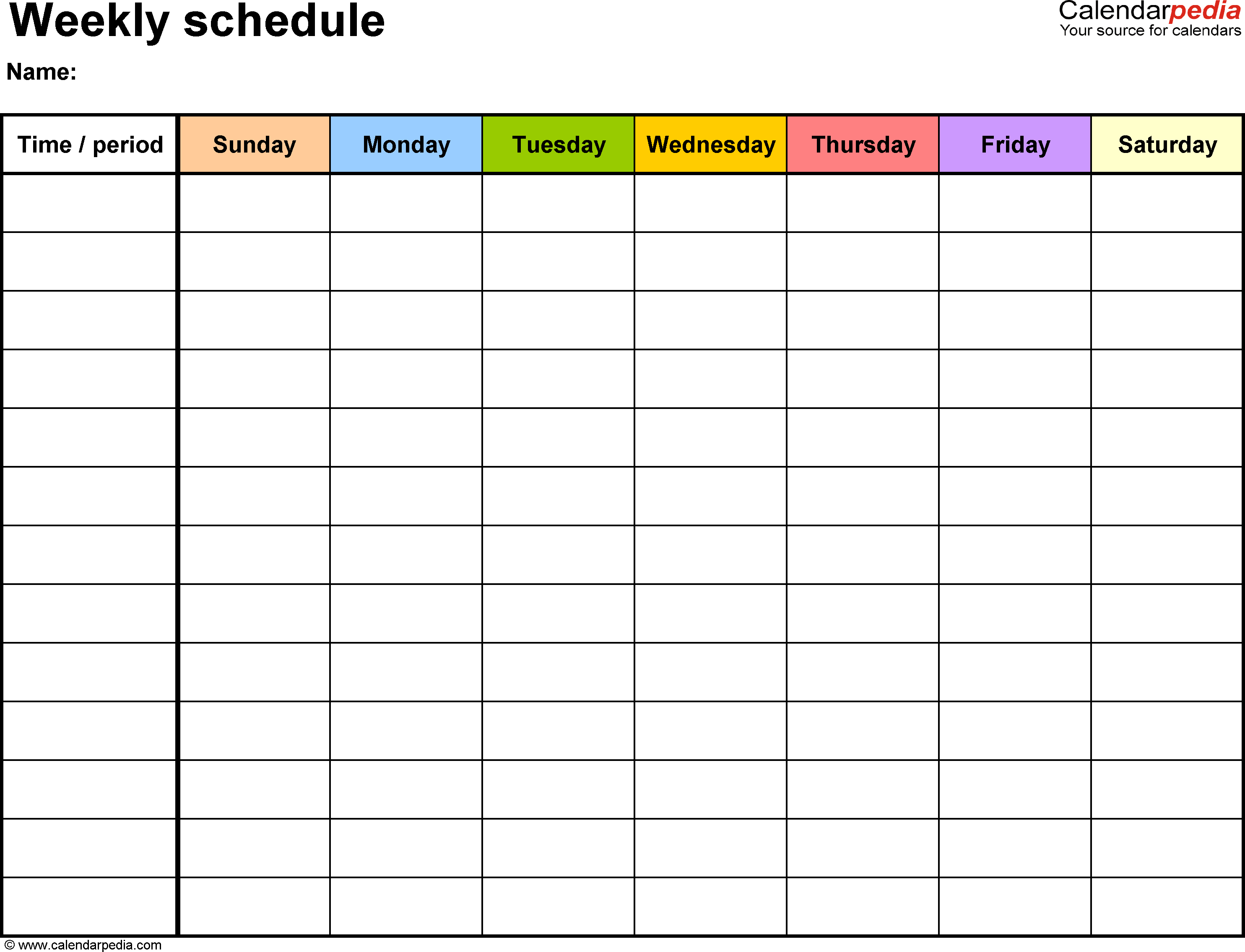 Free Weekly Schedule Templates For Excel - 18 Templates | ~Yoga - Free Printable School Agenda Templates