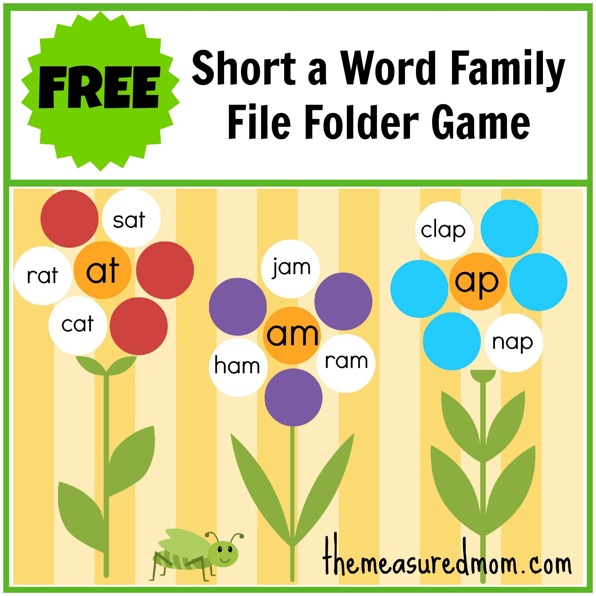 Free Word Family File Folder Game: Short A - The Measured Mom - Free Printable Folder Games