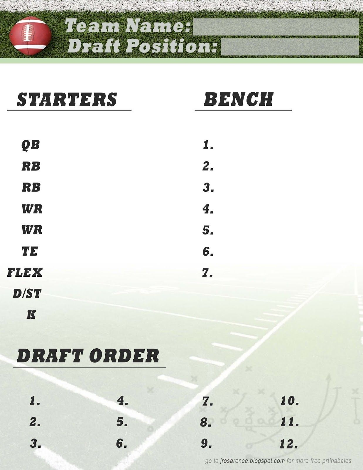 Freebie Friday, Fantasy Football Roster #free #printable | Great - Free Fantasy Football Draft Kit Printable