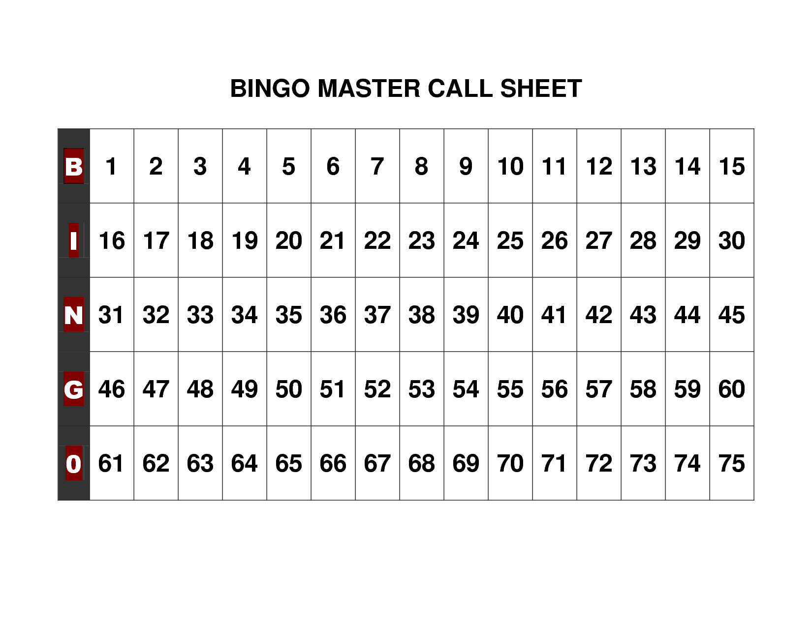 Free+Printable+Bingo+Call+Sheet | Bingo | Bingo Calls, Free - Free Printable Bingo Cards And Call Sheet