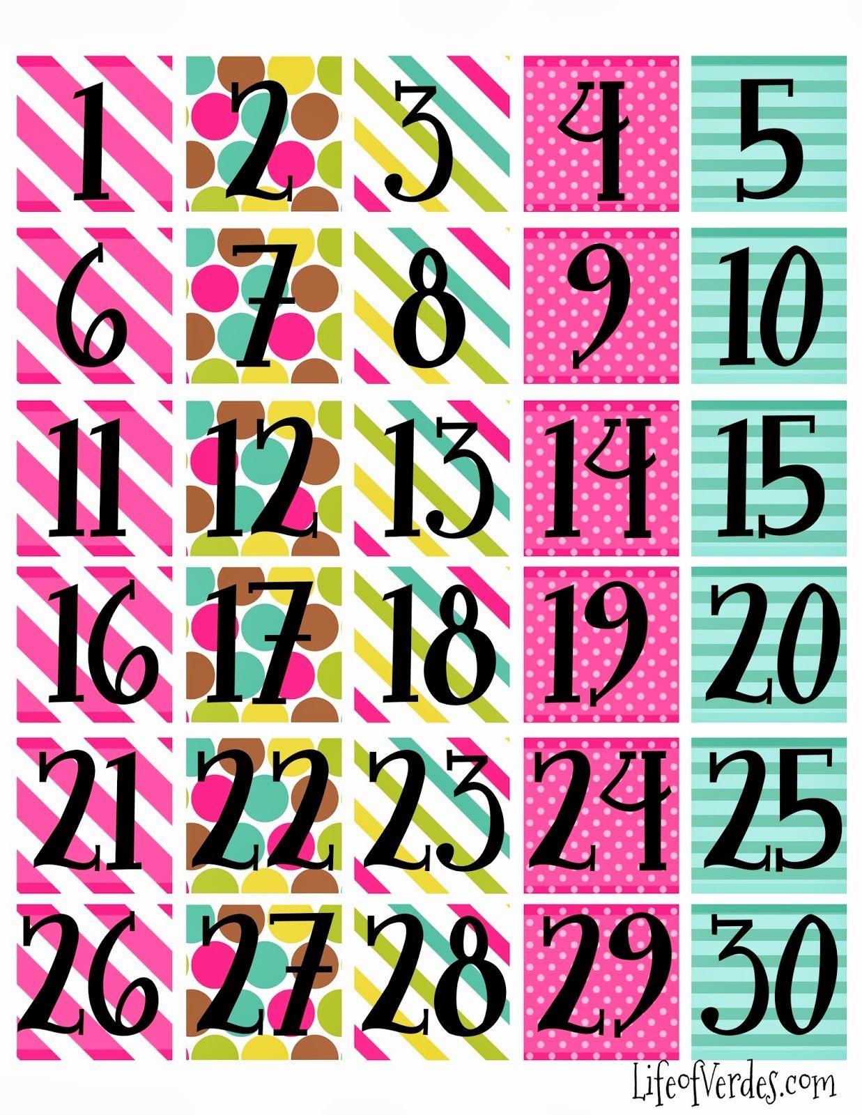 Free+Printable+Calendar+Numbers | Household Info | Calendar Numbers - Free Printable Numbers