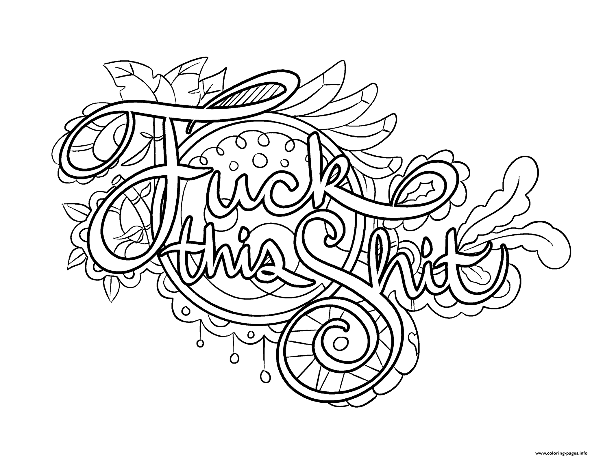 Fuck This Shit Swear Word Coloring Pages Printable - Swear Word Coloring Pages Printable Free