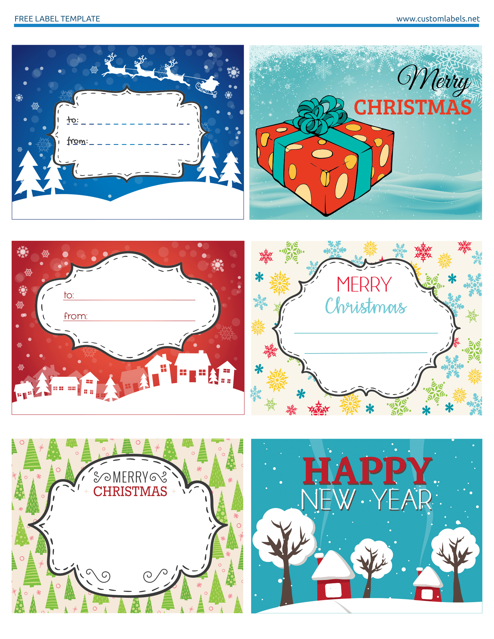 Fun And Colorful Christmas Labels - Free Printables | Free - Christmas Labels Free Printable Templates
