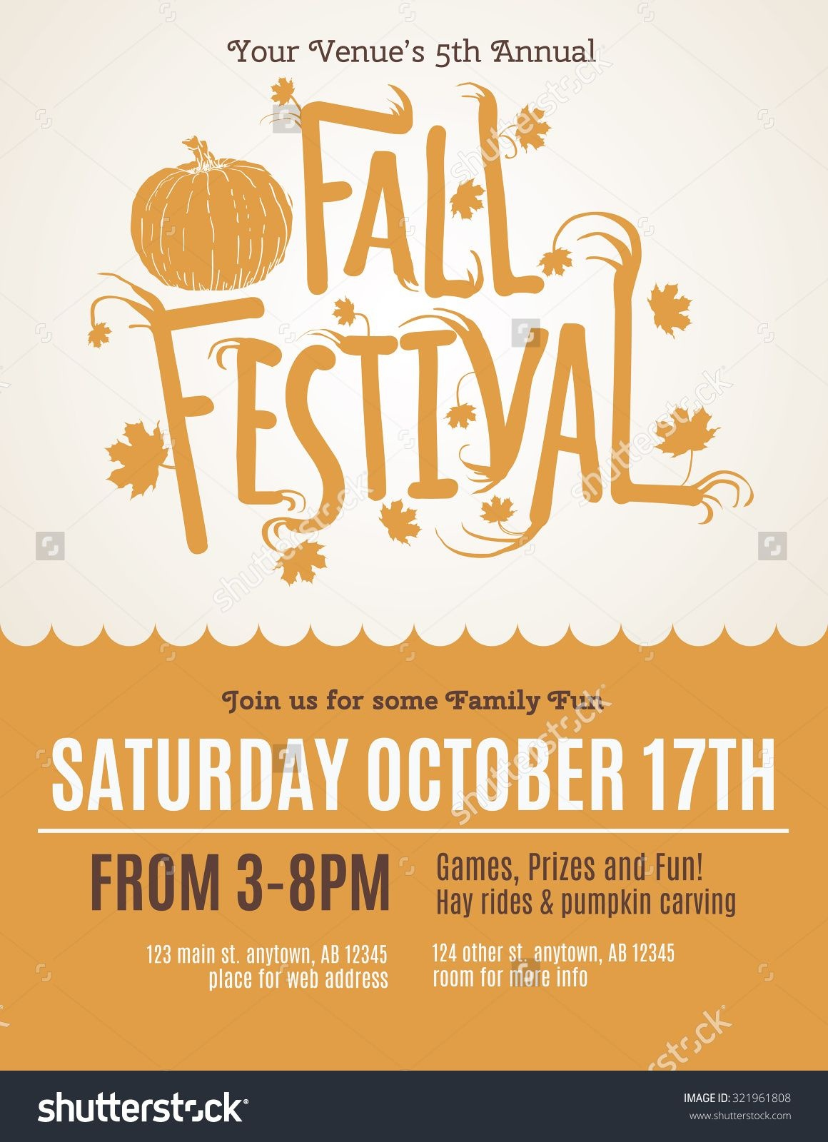 Fun Fall Festival Invitation Flyer Ilustración Vectorial En Stock - Free Printable Fall Festival Invitations