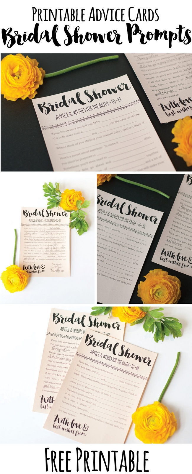 Fun Printable Bridal Shower Advice Cards - Free Download ? - Free Printable Bridal Shower Advice Cards