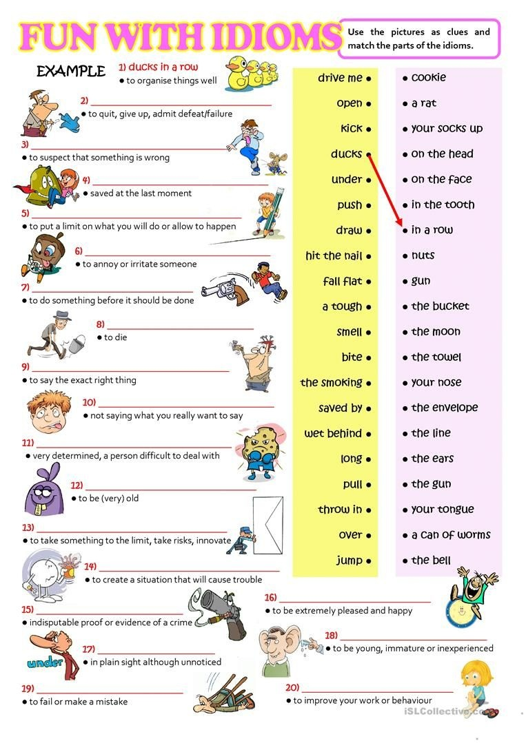 Fun With Idioms Worksheet - Free Esl Printable Worksheets Made - Free Printable English Lessons
