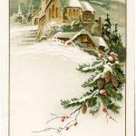 German Christmas Postcard, Vintage Christmas Clip Art, Snowy Winter – Free Printable German Christmas Cards