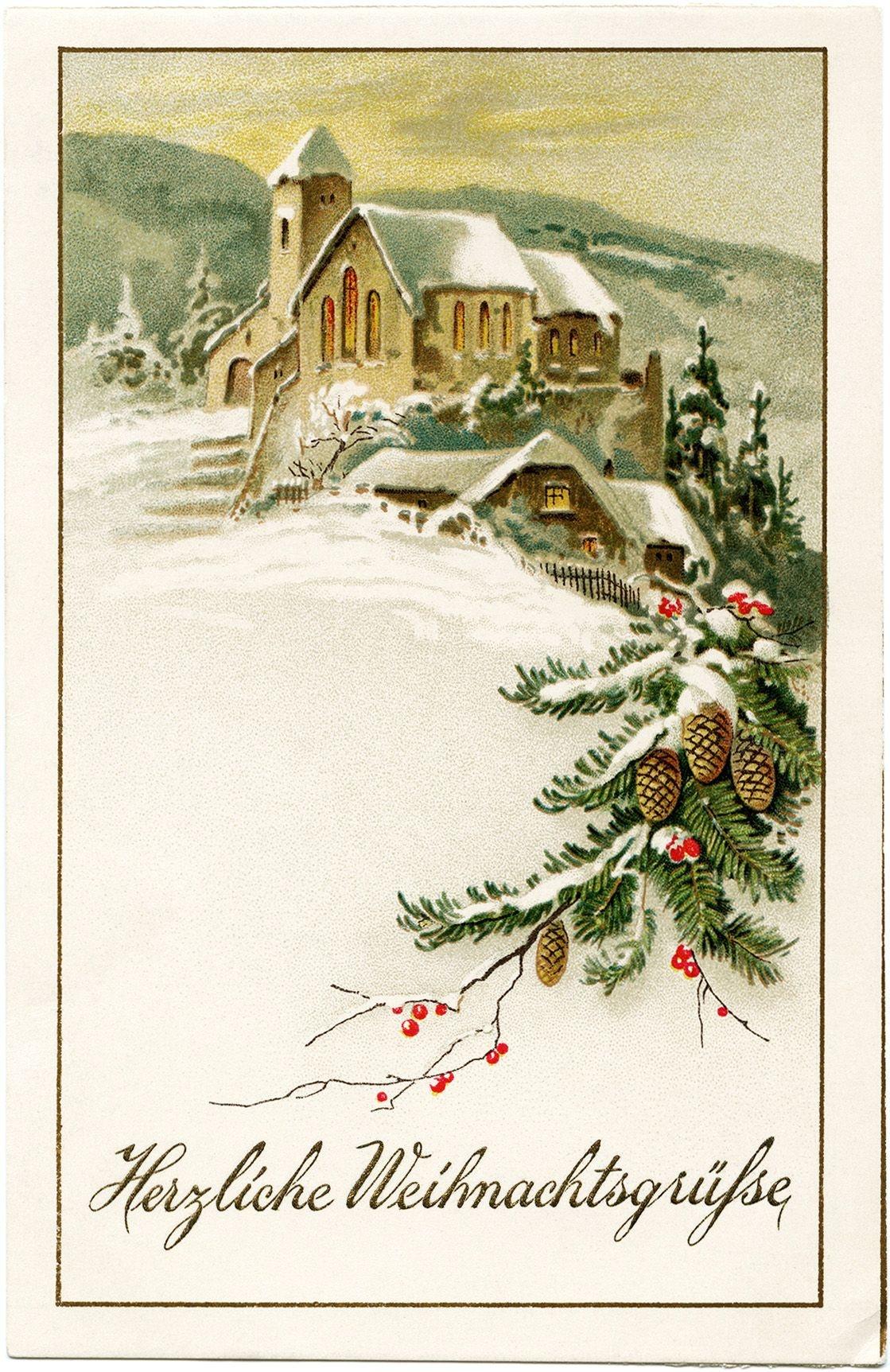 German Christmas Postcard, Vintage Christmas Clip Art, Snowy Winter - Free Printable German Christmas Cards