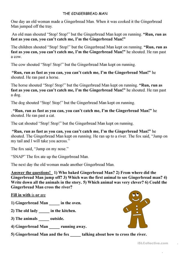 Gingerbread Man Worksheet - Free Esl Printable Worksheets Made - Free Printable Version Of The Gingerbread Man Story