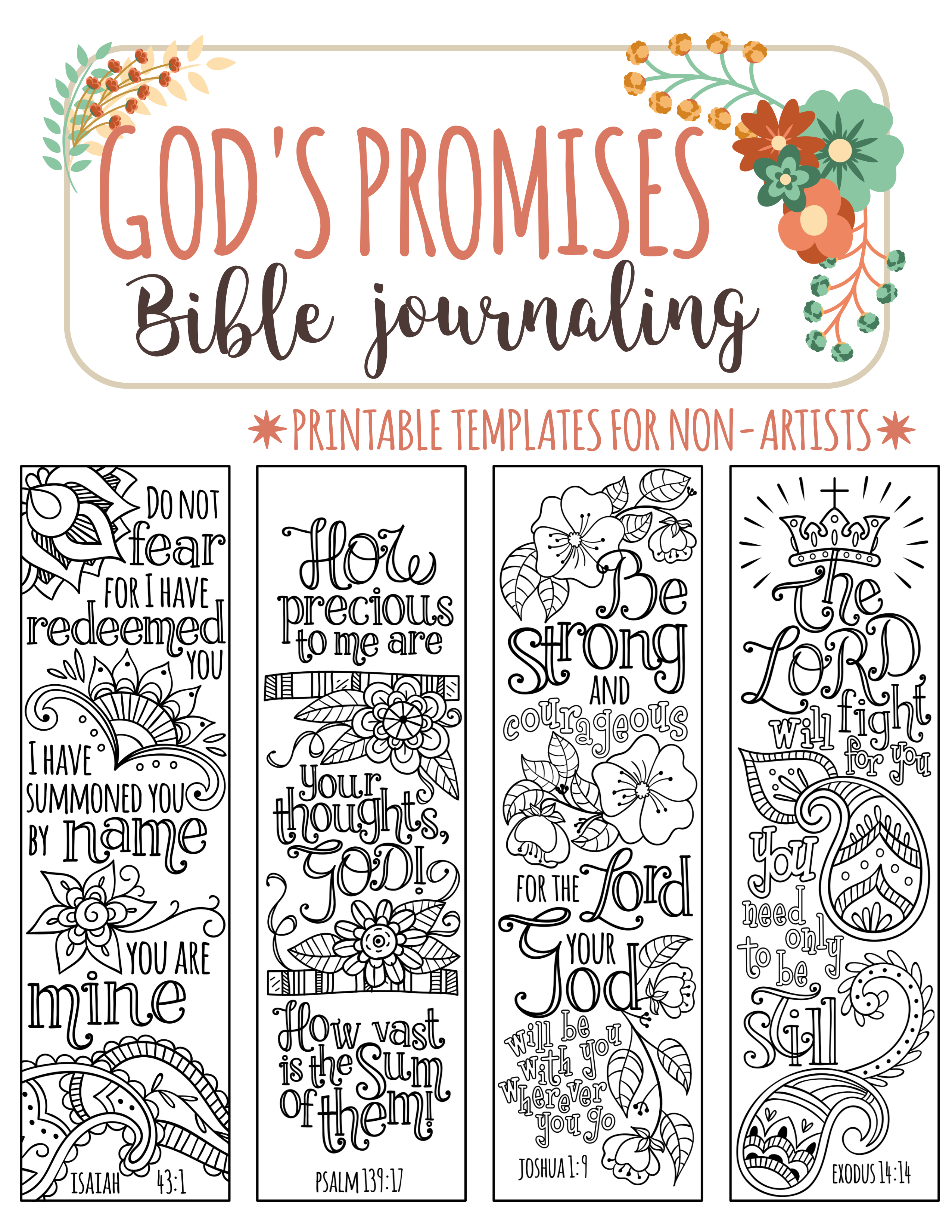 God's Promises - Bible Journaling Printable Templates, Illustrated - Free Printable Religious Easter Bookmarks