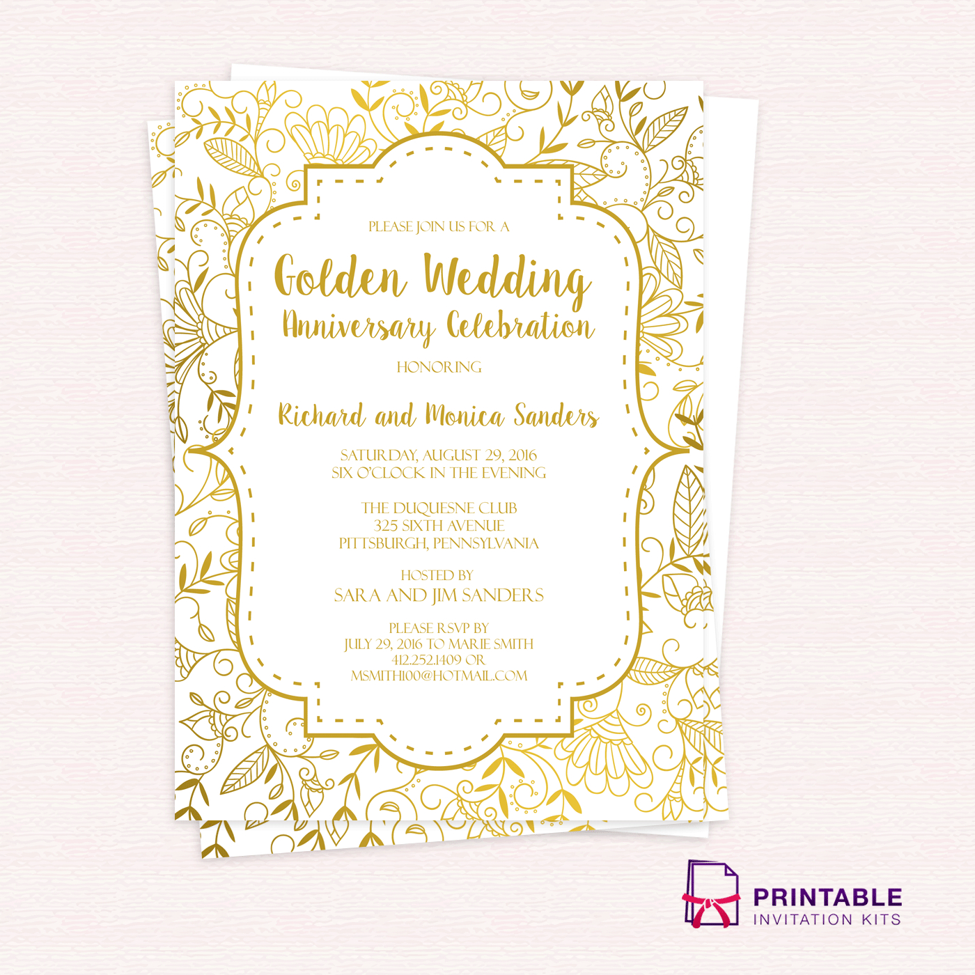 Golden Wedding Anniversary Invitation Template ← Wedding Invitation - Free Printable Wedding Invitation Kits
