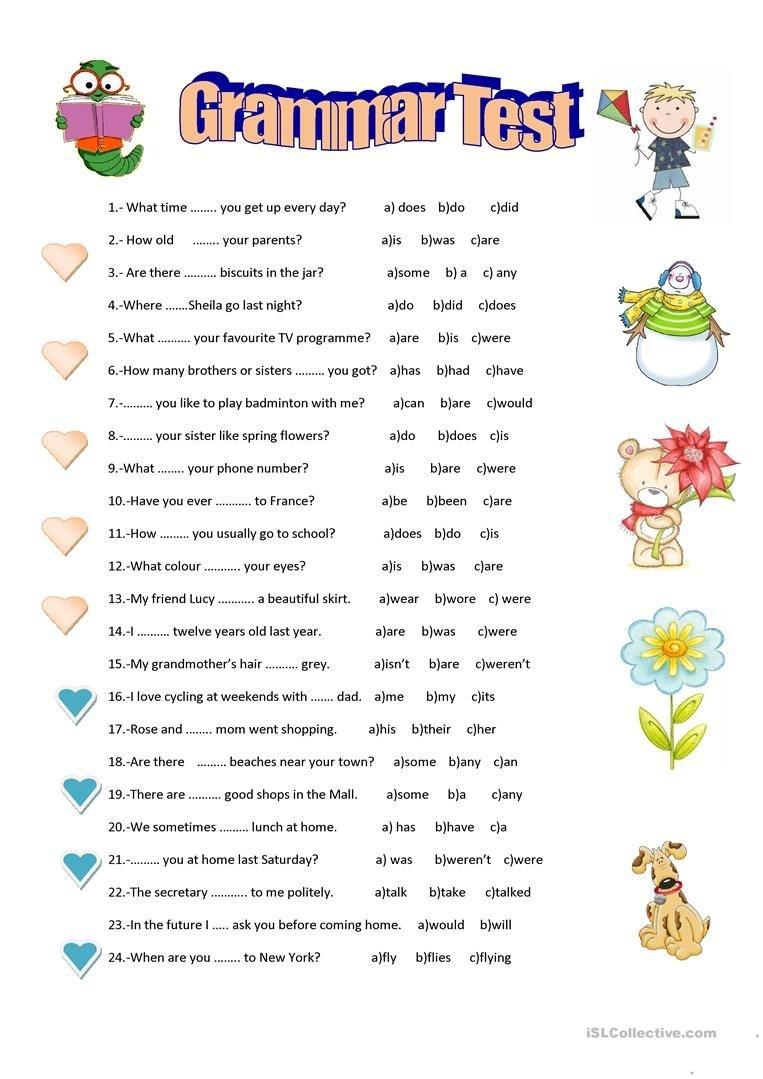 Grammar Test Worksheet - Free Esl Printable Worksheets Made - Free Printable Esl Grammar Worksheets