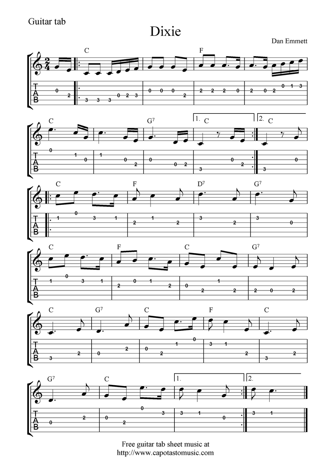 Guitar Music Sheets For Beginners | Free Guitar Tab Sheet Music - Free Guitar Sheet Music For Popular Songs Printable
