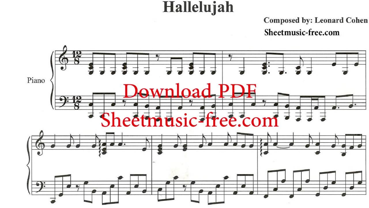 Hallelujah Piano Sheet Music Leonard Cohen - Youtube - Free Printable Piano Sheet Music For Hallelujah By Leonard Cohen
