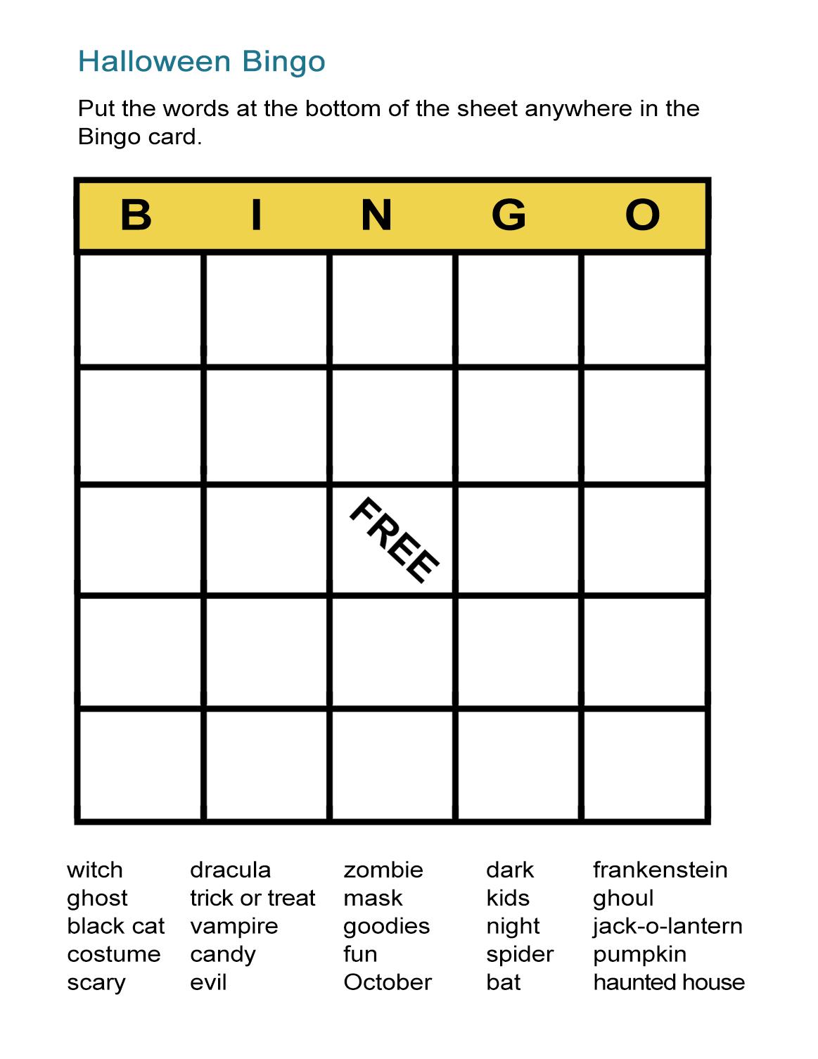 Halloween Bingo Cards: Printable Bingo Games For Class - All Esl - Free Printable Bingo Games