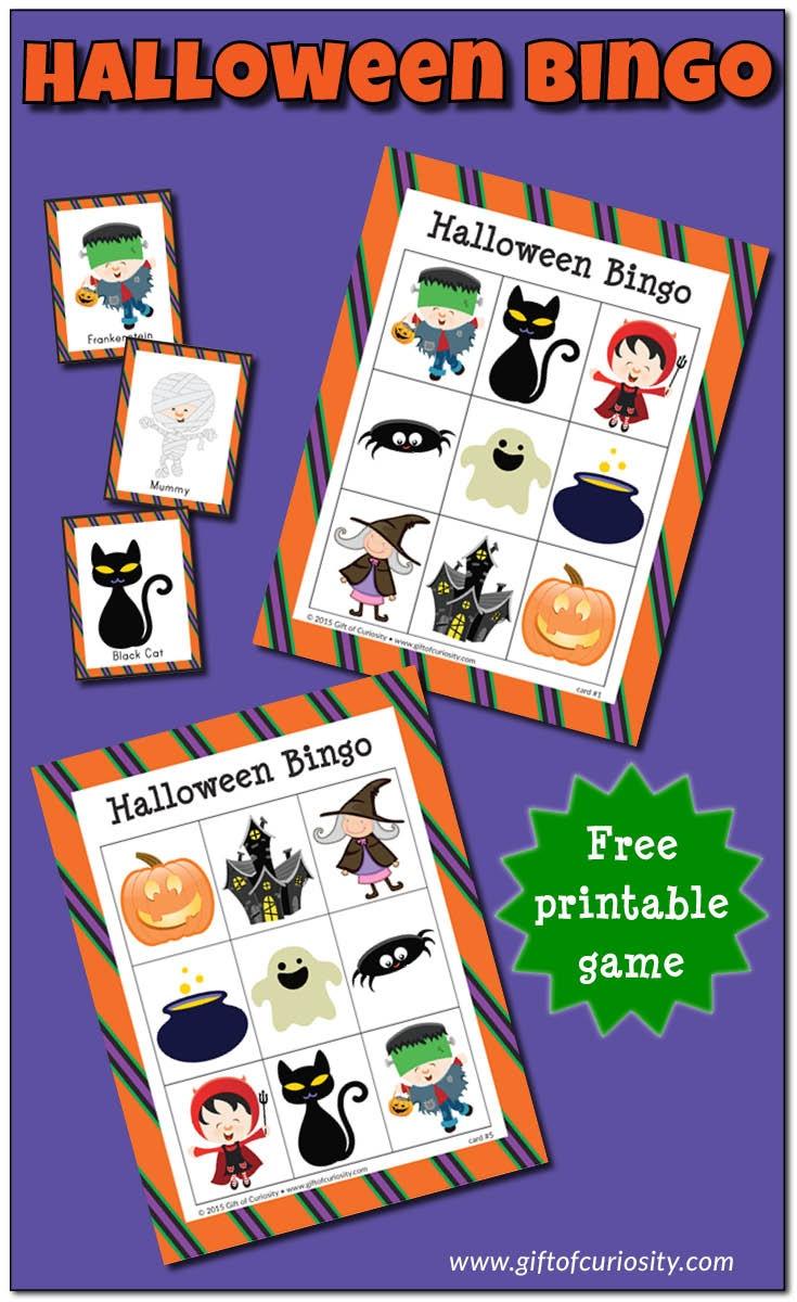 Halloween Bingo Game {Free Printable} - Gift Of Curiosity - Free Printable Halloween Bingo