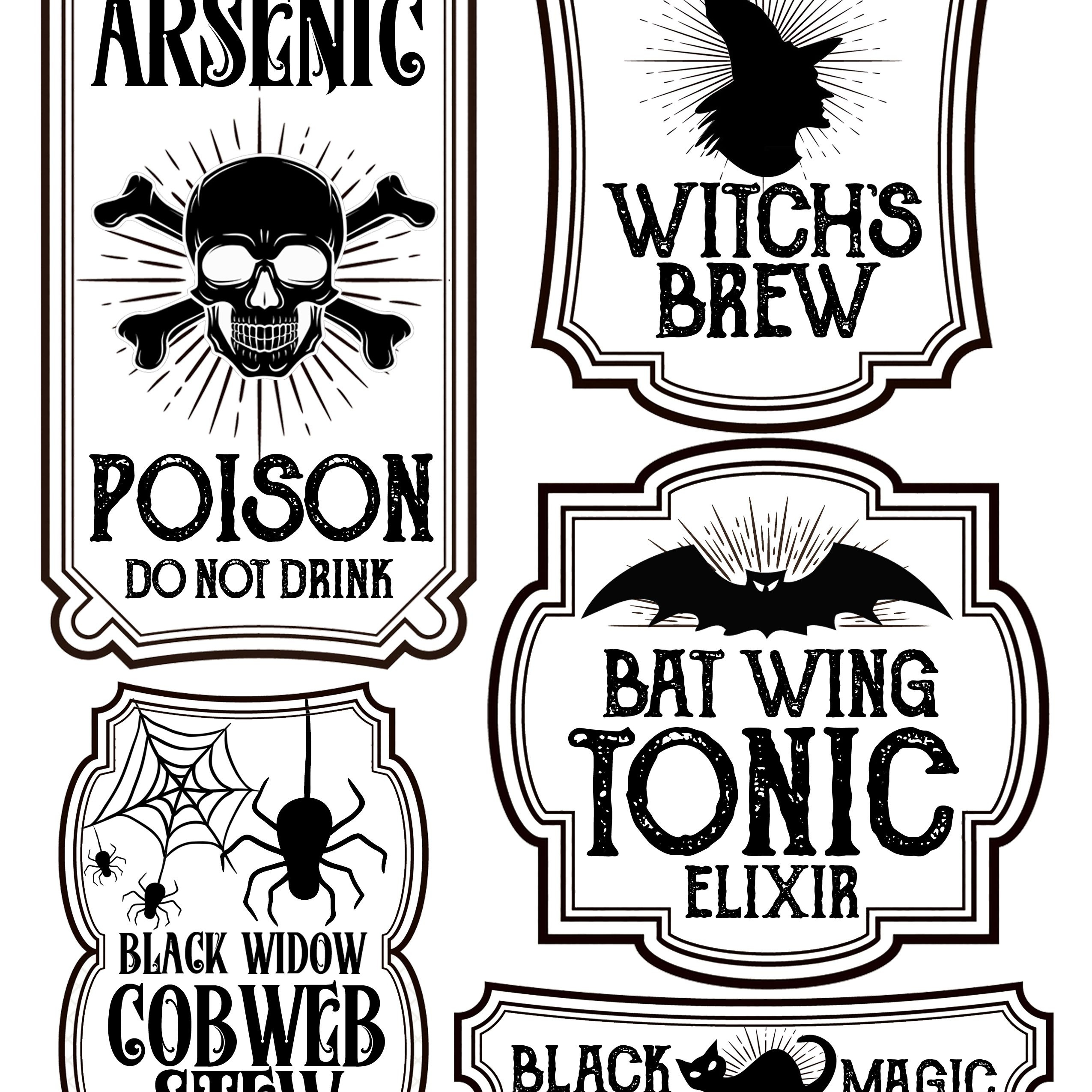 Halloween Bottle Labels - Free Printables - Potions Labels   Art - Free Printable Halloween Bottle Labels