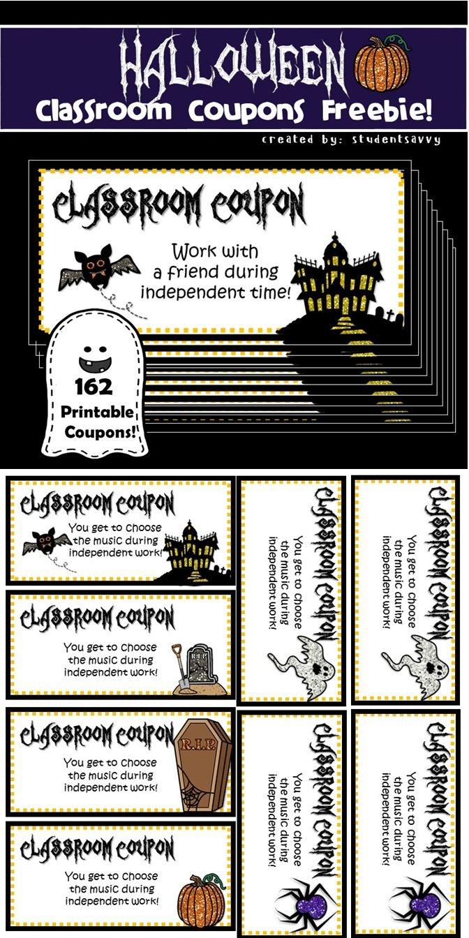 Halloween Classroom Coupons - Freebie | Teaching Freebies - Free Printable Halloween Homework Pass