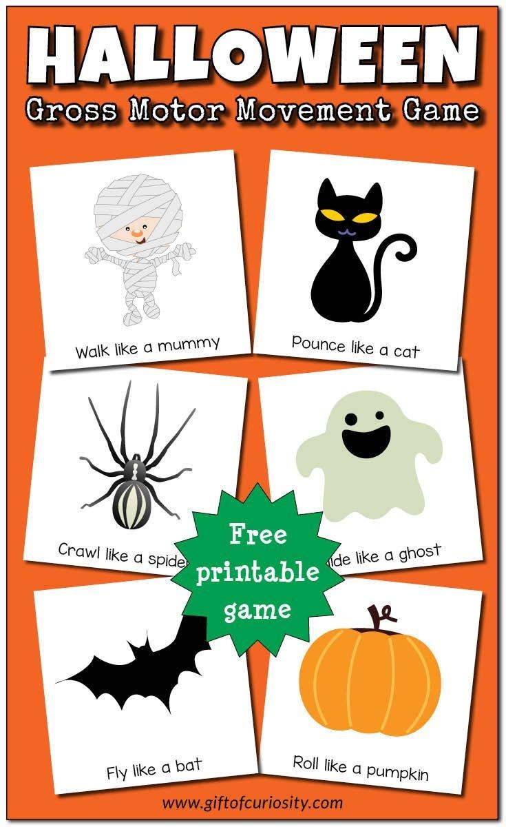 Halloween Gross Motor Movement Game {Free Printable} | Halloween And - Roll A Monster Free Printable
