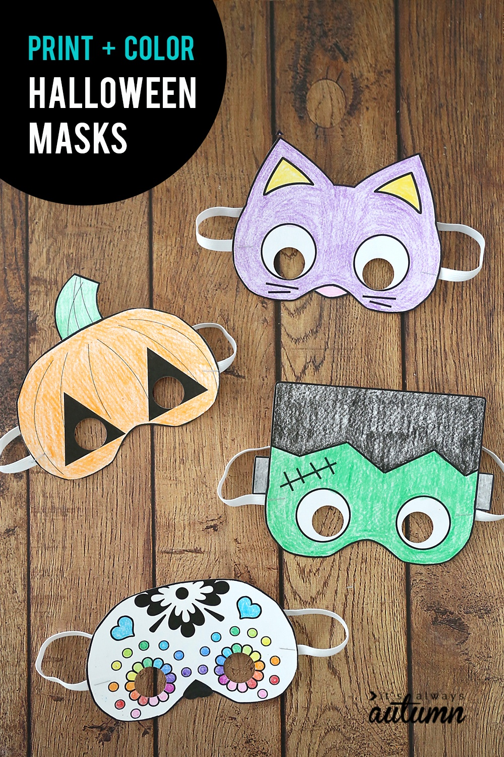 Halloween Masks To Print And Color - It's Always Autumn - Halloween Crafts For Kids Free Printable