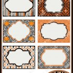 Halloween Printable Labels & Tags, For Gift Tags, Place Cards - Free Printable Damask Place Cards