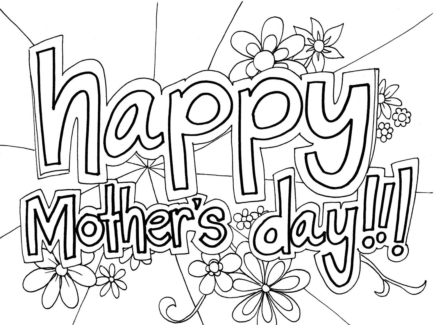 Happy Mothers Day Coloring Pages 2019 - Free Printable Calendar - Free Printable Mothers Day Coloring Cards