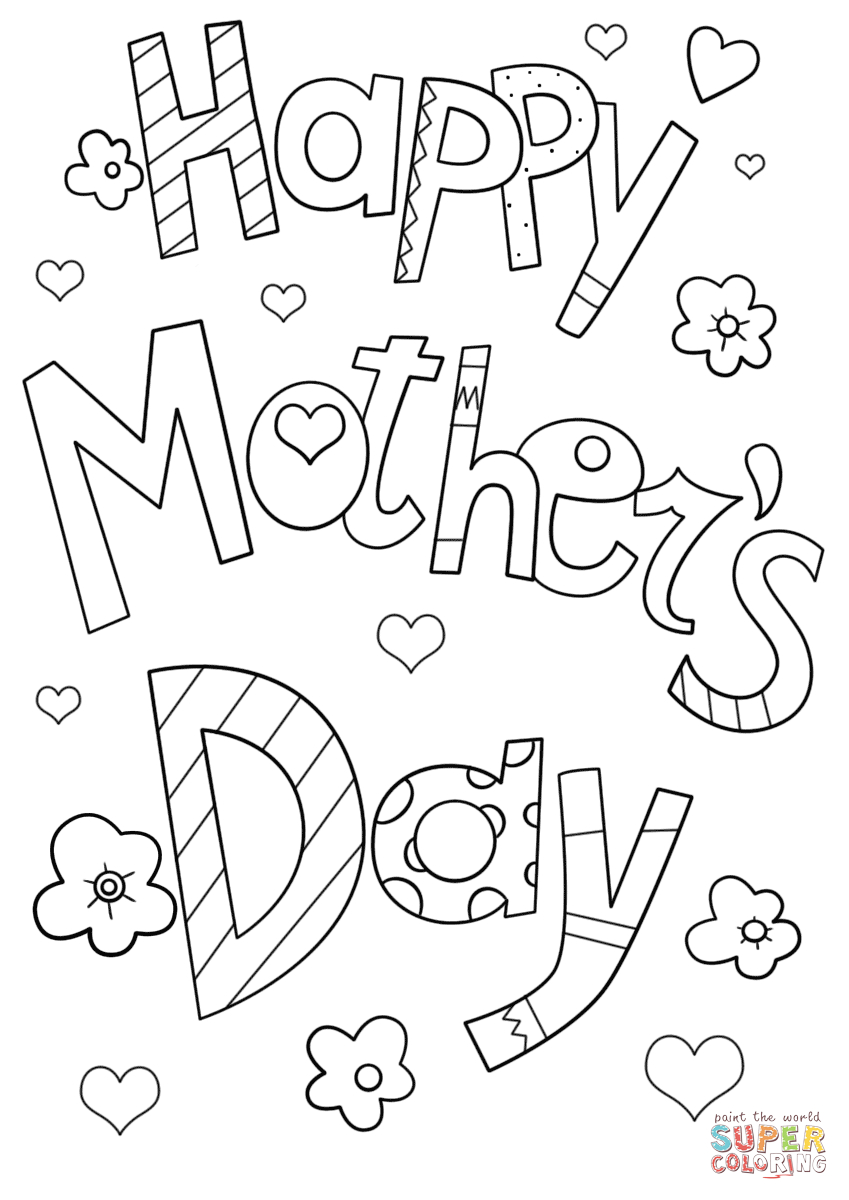 Happy Mother's Day Doodle Coloring Page | Free Printable Coloring - Free Printable Mothers Day Coloring Cards