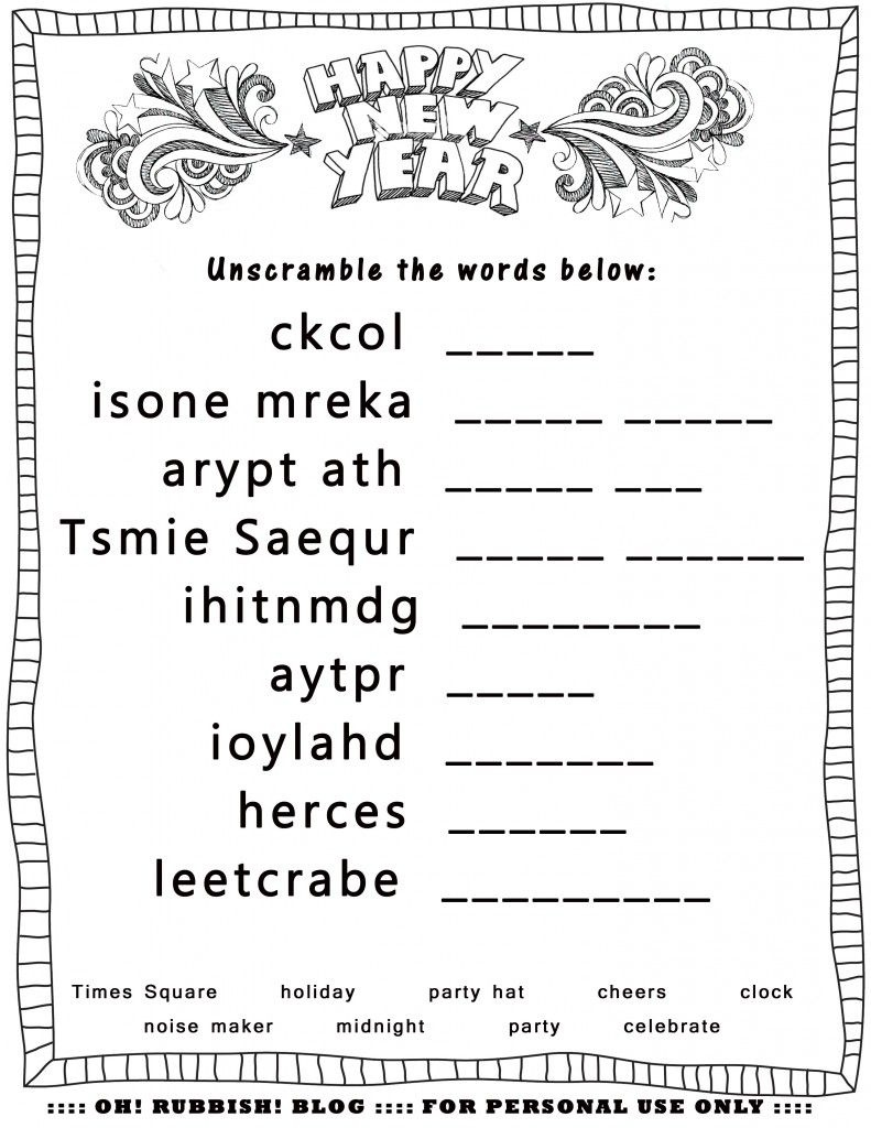 Happy New Year Unscrambleoh! Rubbish! Blog | Lil Brains: First - Free Word Scramble Maker Printable