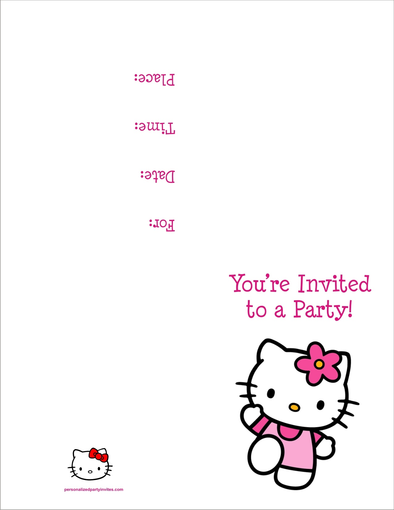 Hello Kitty Free Printable Birthday Party Invitation Personalized - Free Printable Personalized Christmas Invitations