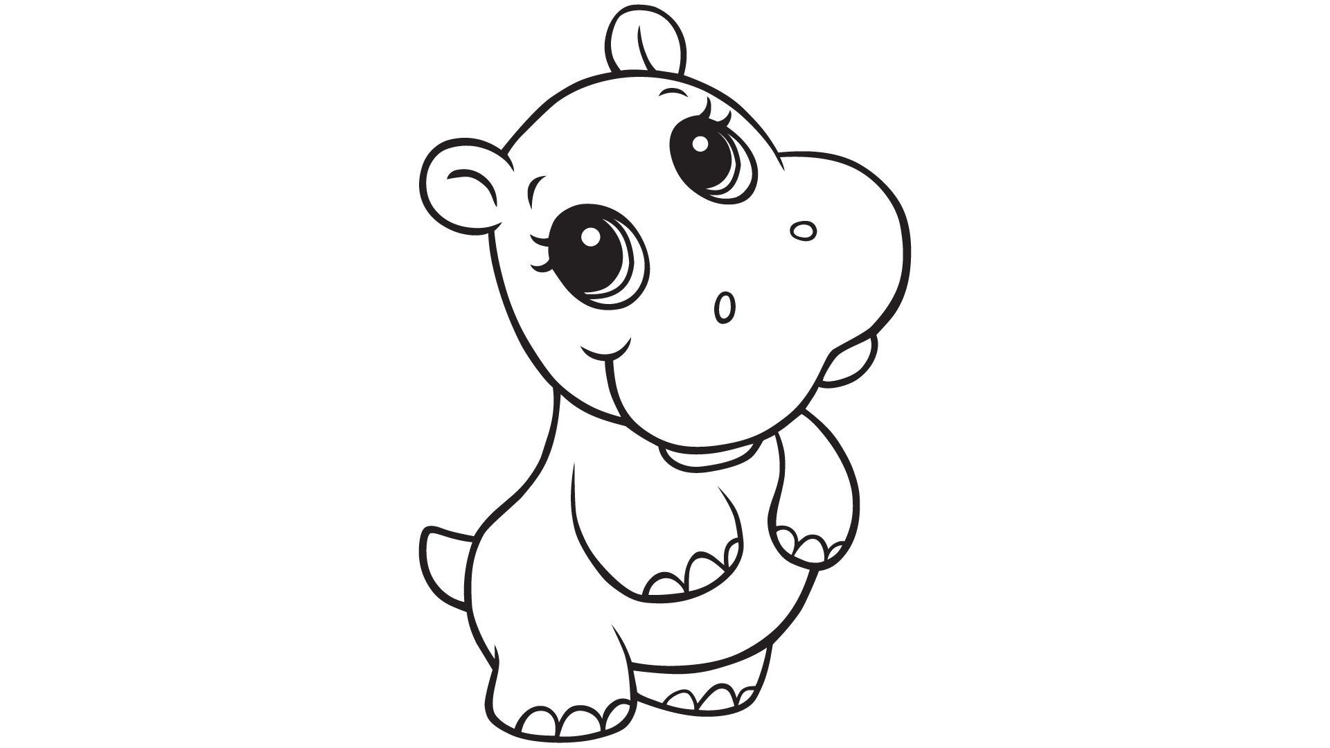 Hippopotamus Coloring Pages, Cliparts And Pictures: Cute Baby Hippos - Free Printable Hippo Coloring Pages