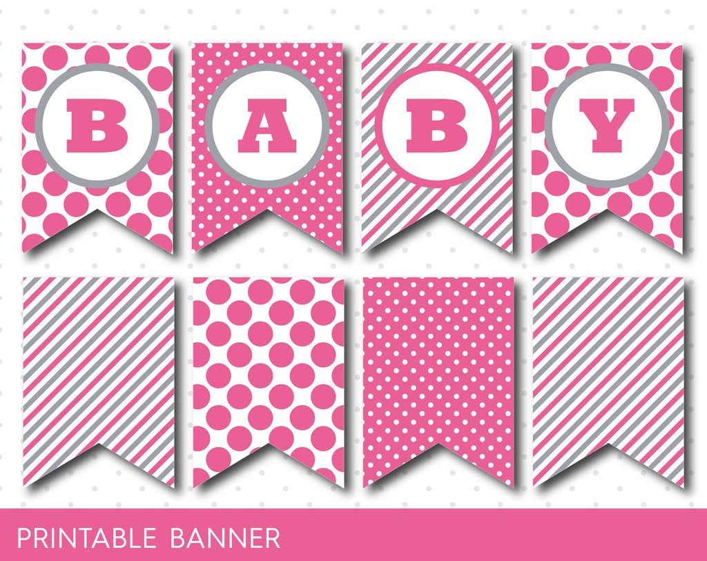 Hot Pink Banner, Party Banner, Birthday Banner, Baby Shower Banner - Free Printable Baby Shower Banner Letters