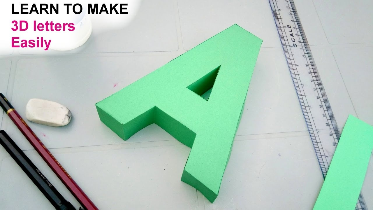 How To Make 3D Letters From Paper, Letter A - Youtube - Free Printable 3D Letters