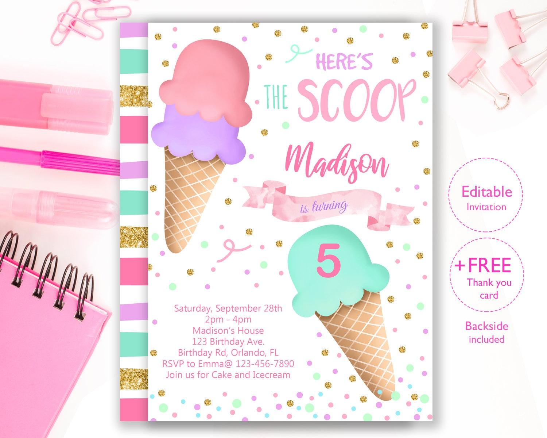 Ice Cream Party Invitation Editable Ice Cream Birthday   Etsy - Ice Cream Party Invitations Printable Free