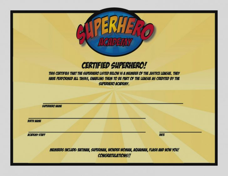 Free Printable Superhero Certificates