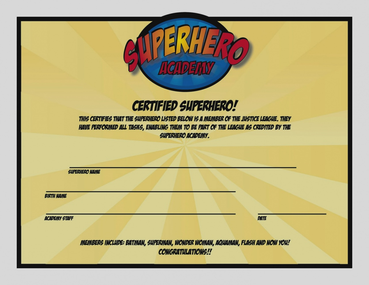 Ideas Collection For Superhero Certificate Template Free Of Proposal - Free Printable Superhero Certificates