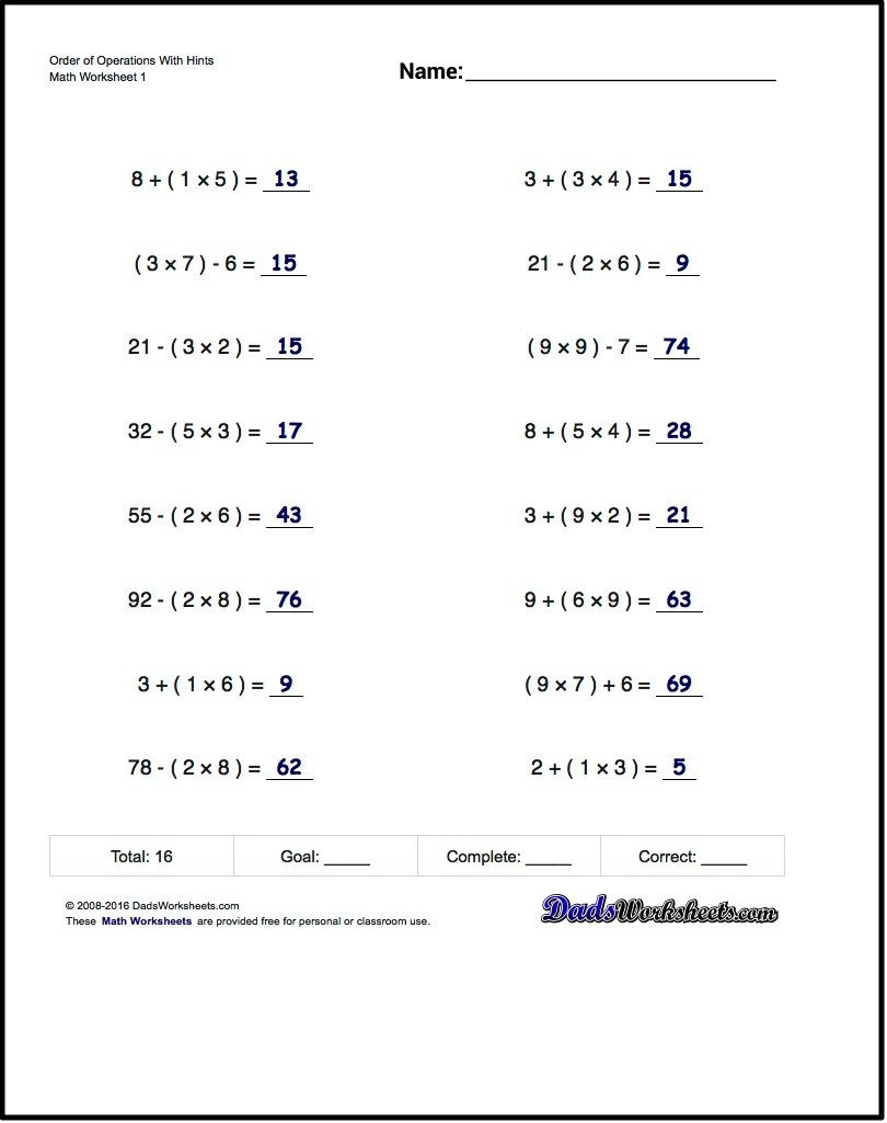 If You Are Looking For Order Of Operations Worksheets That Test Your - Free Printable Math Worksheets 6Th Grade Order Operations