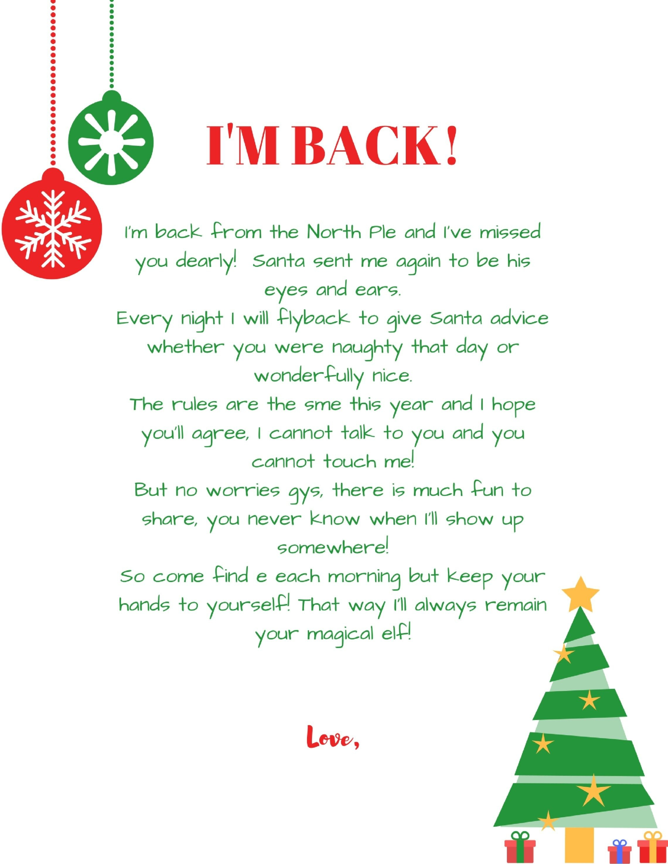 Im-Back-Elf-On-The-Shelf-Arrival-Letter-Free-Printable | Holiday - Free Printable Elf On Shelf Arrival Letter