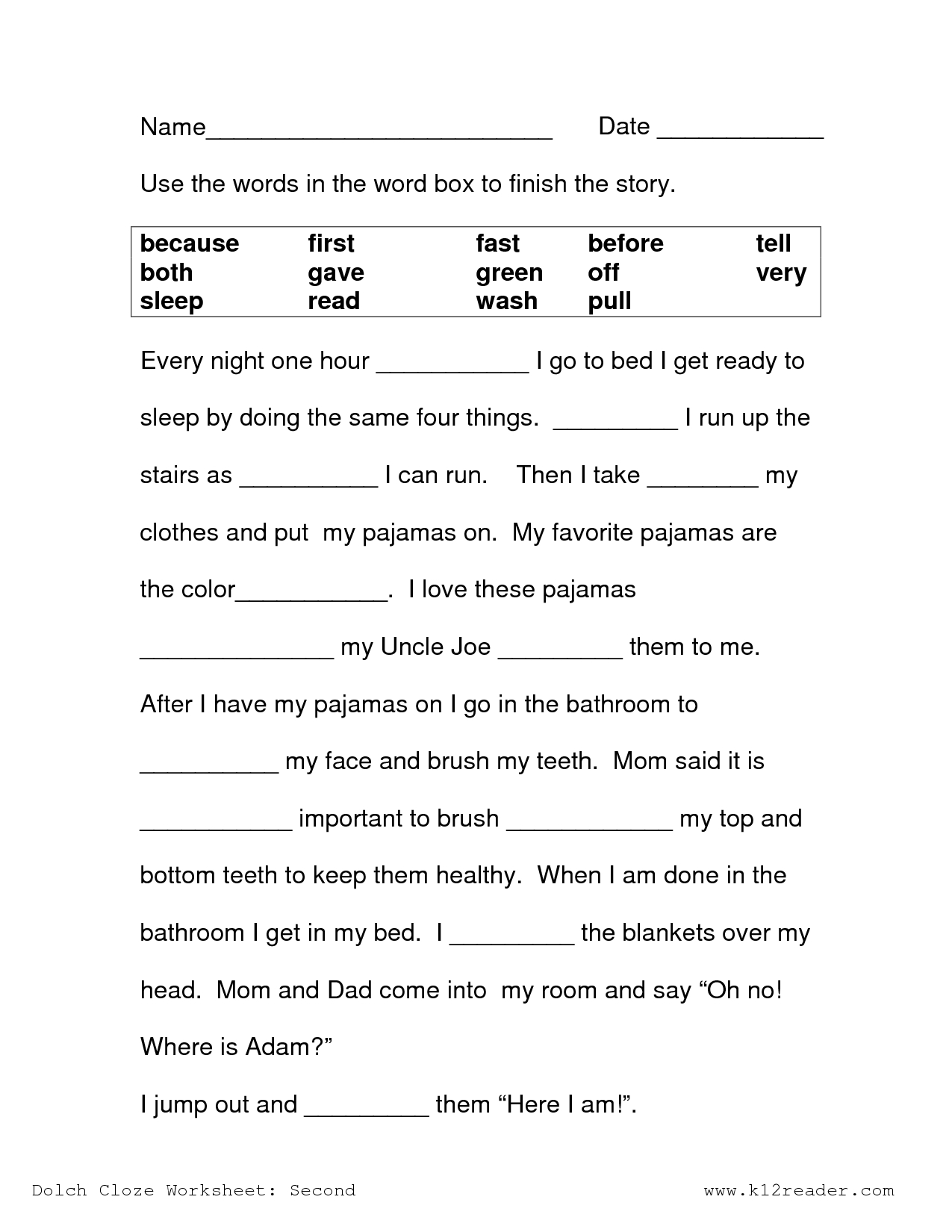Image Result For Free Cloze Reading Passages 2Nd Grade | Printables - Free Printable Science Worksheets For 2Nd Grade