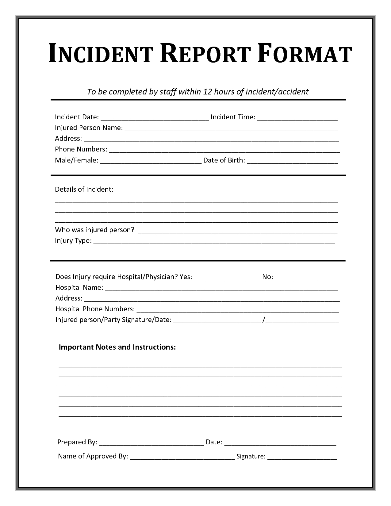 Incident Report Form Template Microsoft Excel | Report Templates - Free Printable Incident Report Form