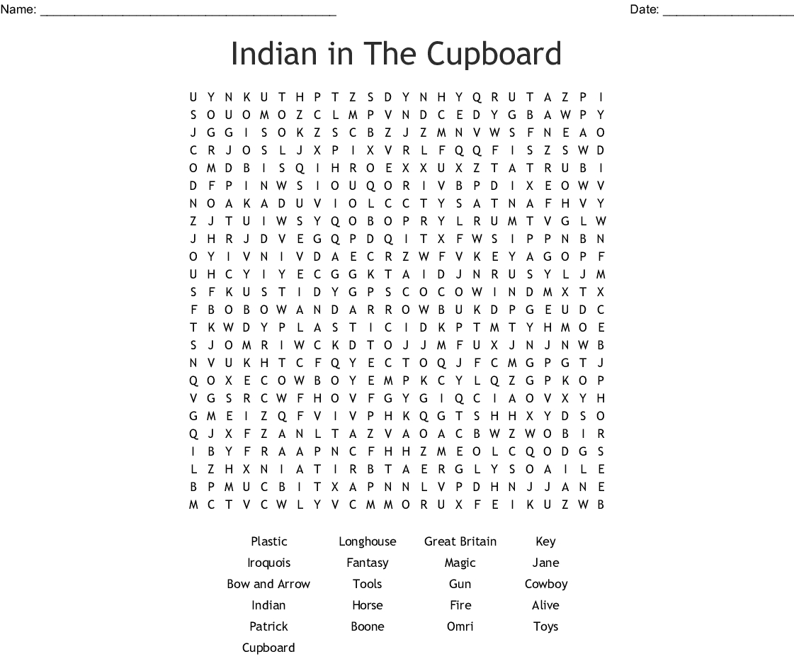 Indian In The Cupboard Word Search - Wordmint - Indian In The Cupboard Free Printable Worksheets
