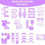 Instant Download Baby Purple Printable Photo Booth Prop Set | Baby   Free Printable Baby Shower Photo Booth Props